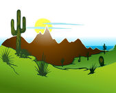 Cactus saguaro, Mountains and river. Vector — Stock Vector