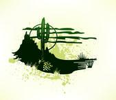 Cactus saguaro grunge background. Vector — Stock Vector