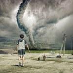 Постер, плакат: Boy and tornado