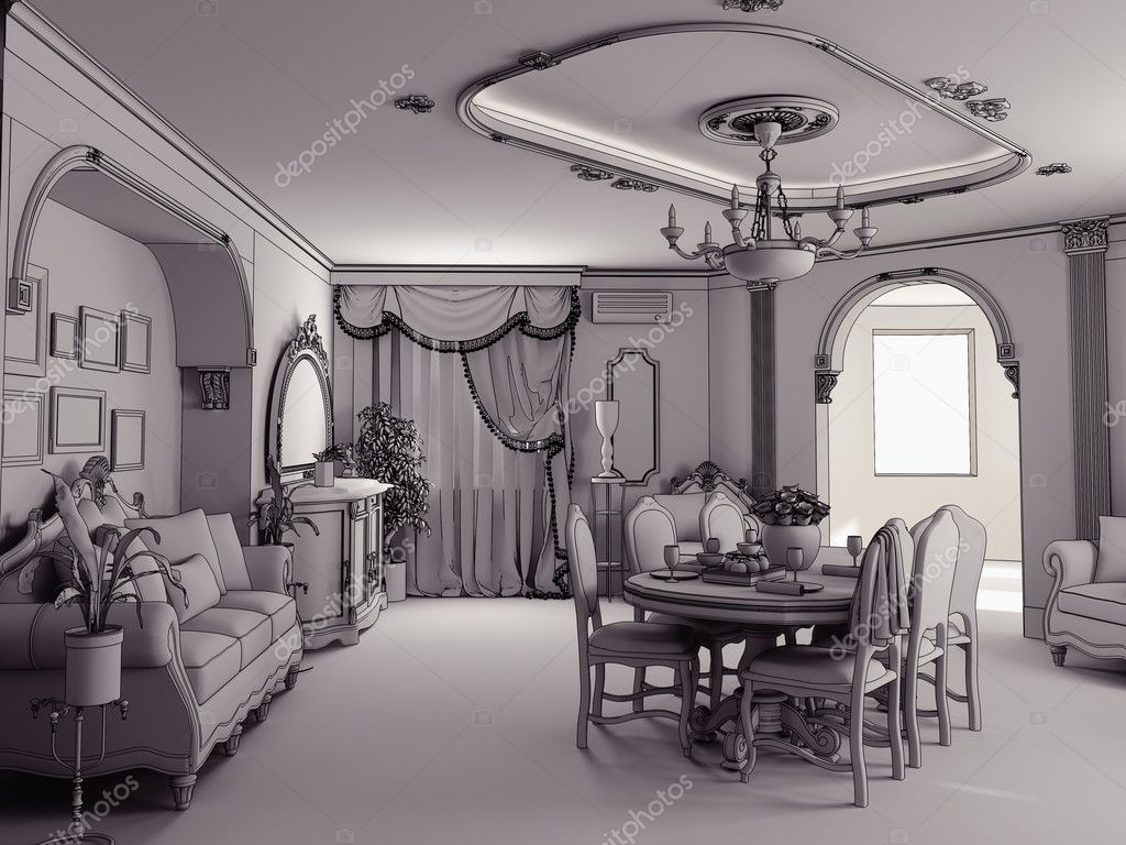 Sketch style classik interior illustration (stage of interior indoor project) — Stock Photo #4925116