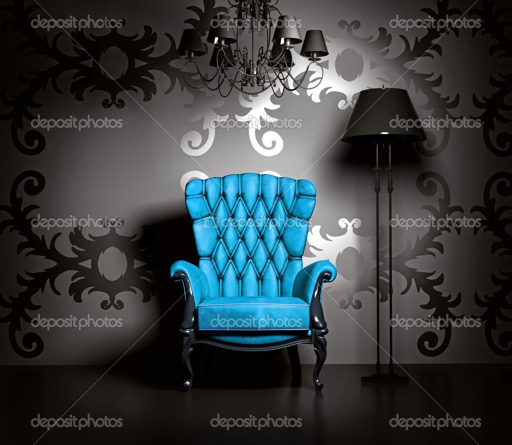 3D interior scene with blue classic armchair and lamp. — Stok fotoğraf #4925126