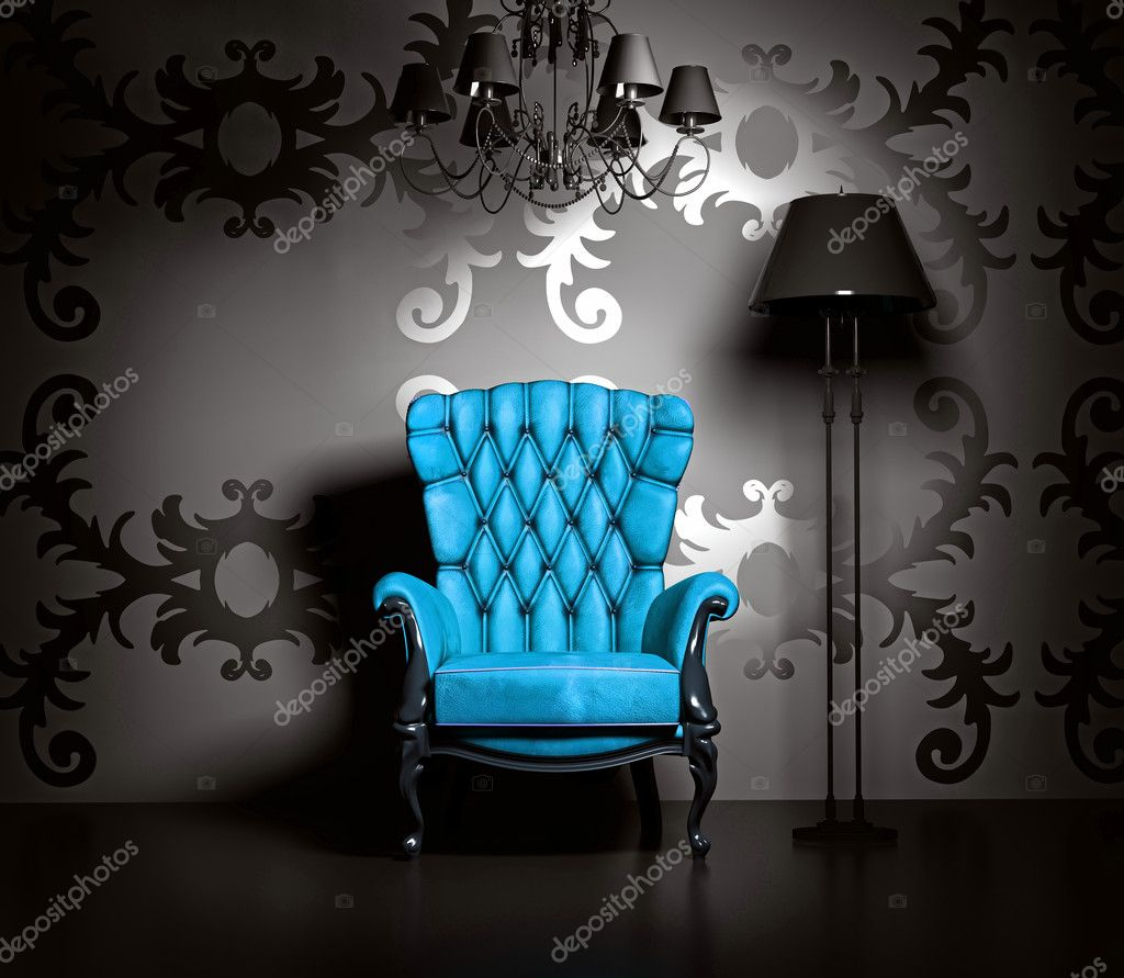 3D interior scene with blue classic armchair and lamp.  Foto Stock #4925126