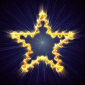 Estrella de navidad oro con espiral azul — Foto de Stock