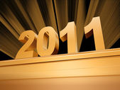 Golden 2011 on a pedestal — Stock Photo