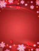 Crystal snowflakes red background — Stock Photo