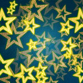 Golden stars in blue background — Stock Photo