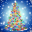 Christmas tree in lights blue — Stock Photo