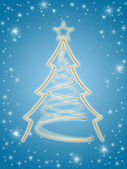 Golden 3d christmas tree in blue — Stock Photo