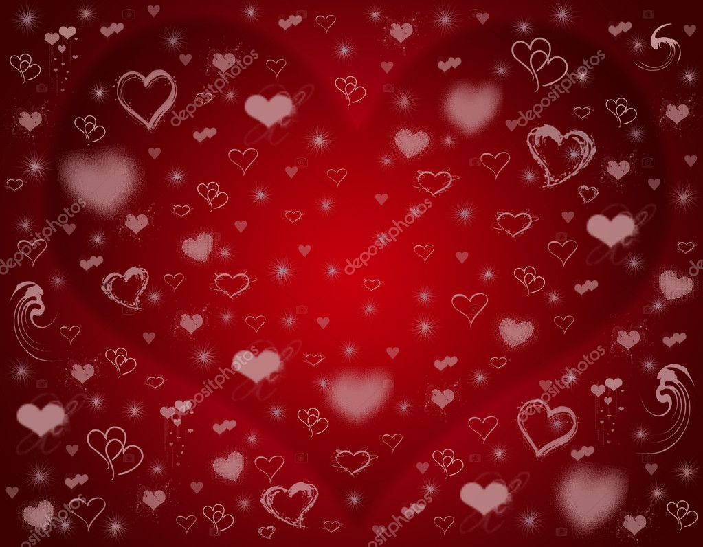 Many different pink hearts over red background — Lizenzfreies Foto #4881393