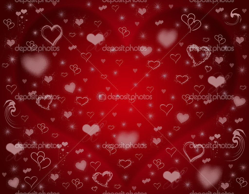 Many different pink hearts over red background — Stockfoto #4881393