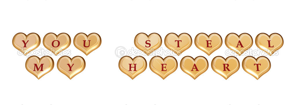 3d golden hearts with red letters with text - you steal my heart, isolated — Stock Photo #4881961