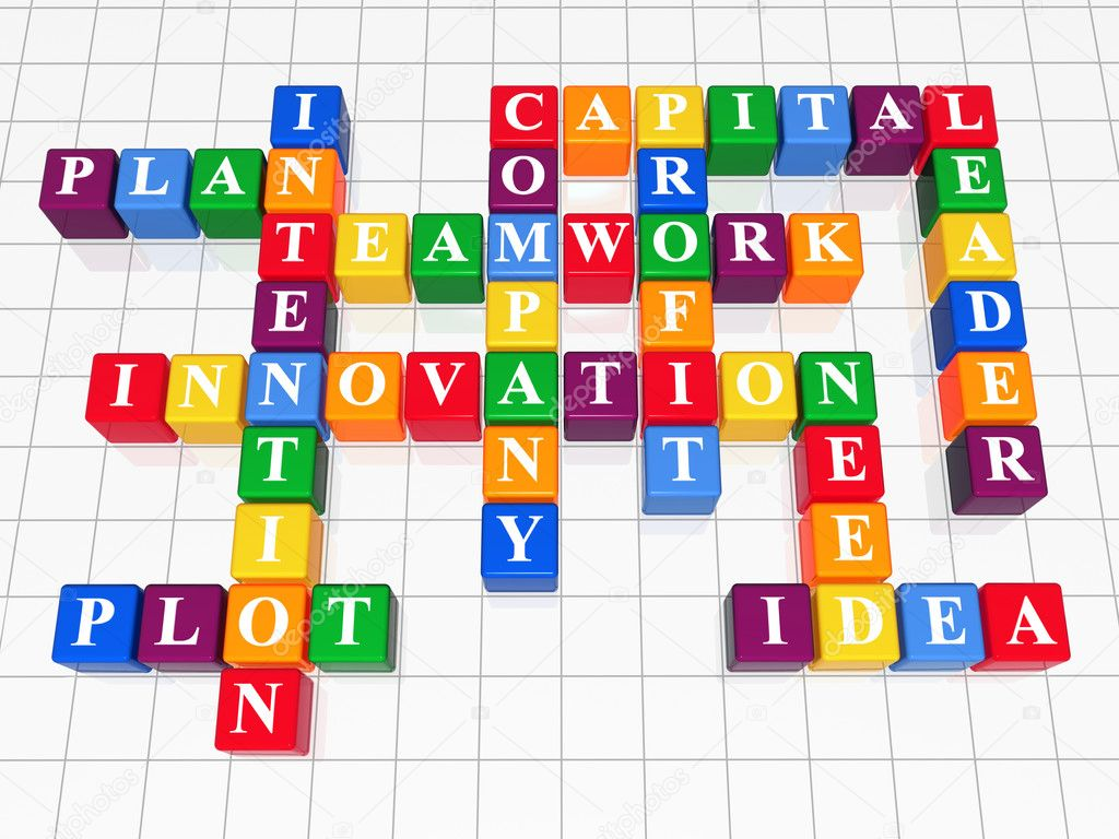 3d color boxes crossword - capital, teamwork, innovation, plan, plot, idea, intention, company, profit, need, leader  Foto de Stock   #4967165
