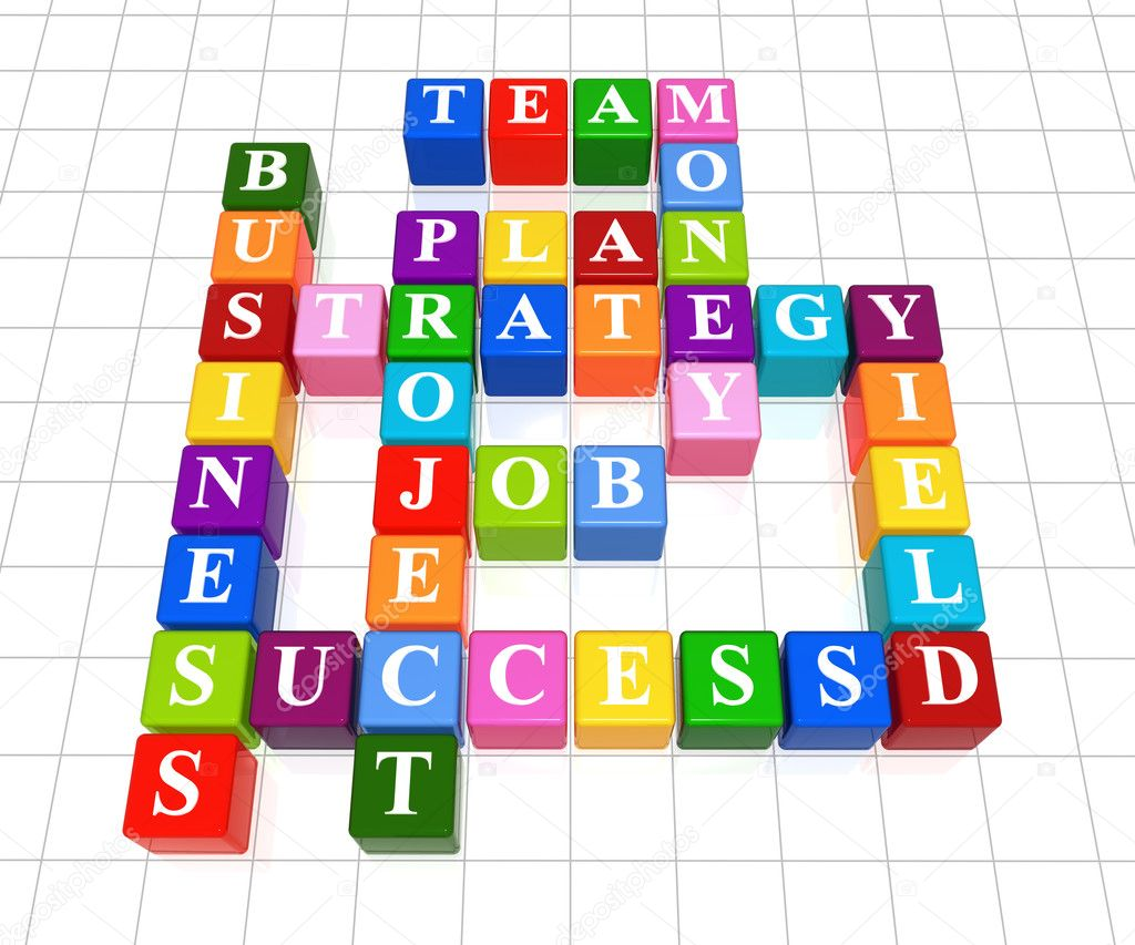 3d color boxes crossword - business; success; strategy; project; plan; job; team; money; yield;   Stock Photo #4967174