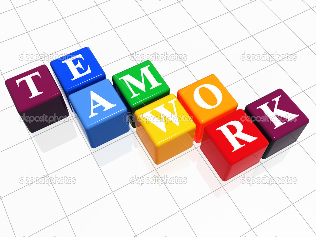 3d color boxes with white letters with text teamwork — Stock Photo #4967617