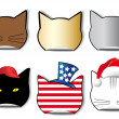 Six stickers of the cat's profile in the different applications - Vektorgrafik
