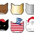 Stock Vector: Six stickers of the cat's profile in the different applications