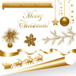 Collection Gold Christmas Elements — Stock Vector