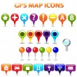 GPS Color Map Icons — Stockvektor