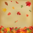 Autumn Leaves On Old Paper — Stock Vector