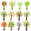 verzameling van bomen — Stockvector