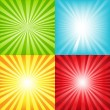 Stock Vector: Bright Sunburst Background With Beams And Stars