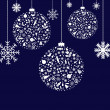Stylized Christmas Balls - Stock Vector