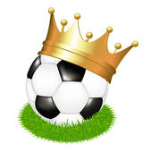 Soccer Ball On Grass With Crown — Stock Vector