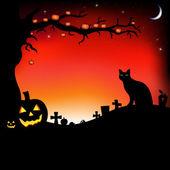 Illustration de halloween avec des citrouilles — Vecteur