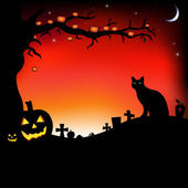Ilustração de halloween com abóboras — Vetorial Stock