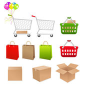 Set Shopping Of Elements — Stock Vector