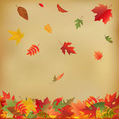 Autumn Leaves On Old Paper — Stockvector