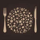Iconos de restaurante en forma de esfera con enchufe y cuchillo — Vector de stock
