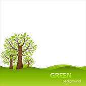 Fondo verde con árboles — Vector de stock
