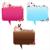 Collection Of Speech Bubbles With Ice-Cream — Stock Vector