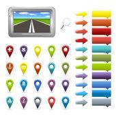 Iconos de navegación gps — Vector de stock