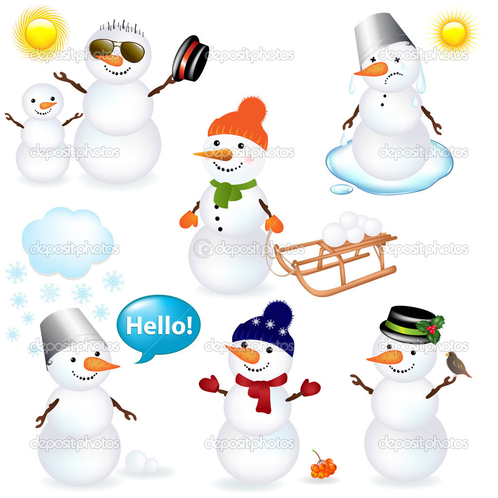 7 Cartoon Snowman,  Isolated On White Background, Vector Illustration — Stock Vector #4329132