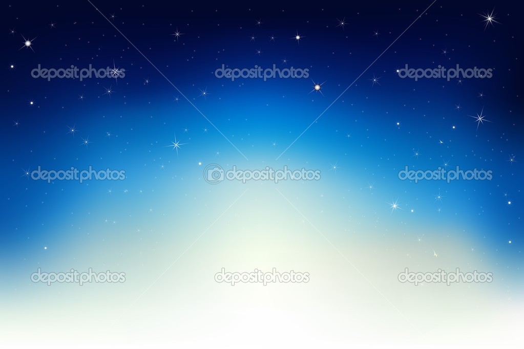 Dark Blue Sky With Stars, Vector Illustration   Stock Vector #4329160