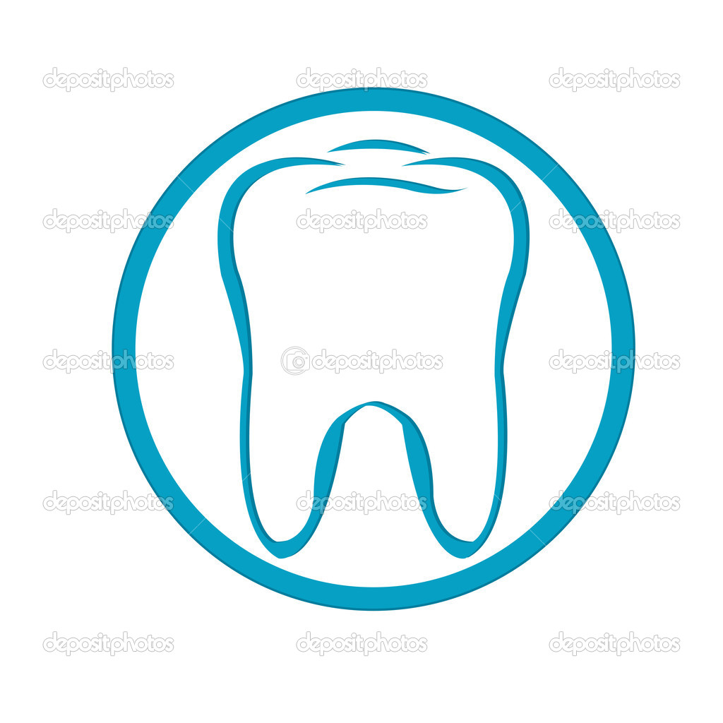 Stylized Tooth In Circle, Isolated On White Background, Vector Illustration — Stock Vector #4329202