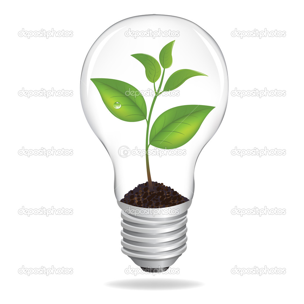 Bulb With Sprout, Isolated On White Background, Vector Illustration  — Stock Vector #4329205