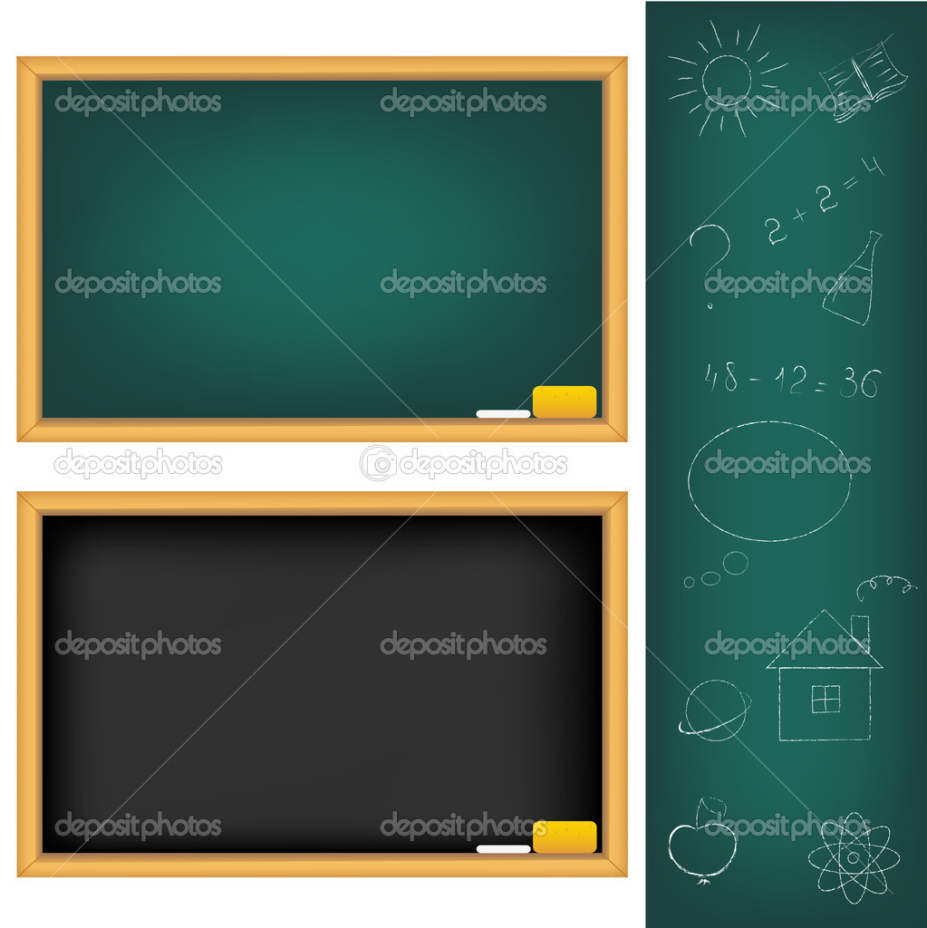 2 School Boards And Drawings Drawn by Chalk, Isolated On White Background, Vector Illustration    #4329210