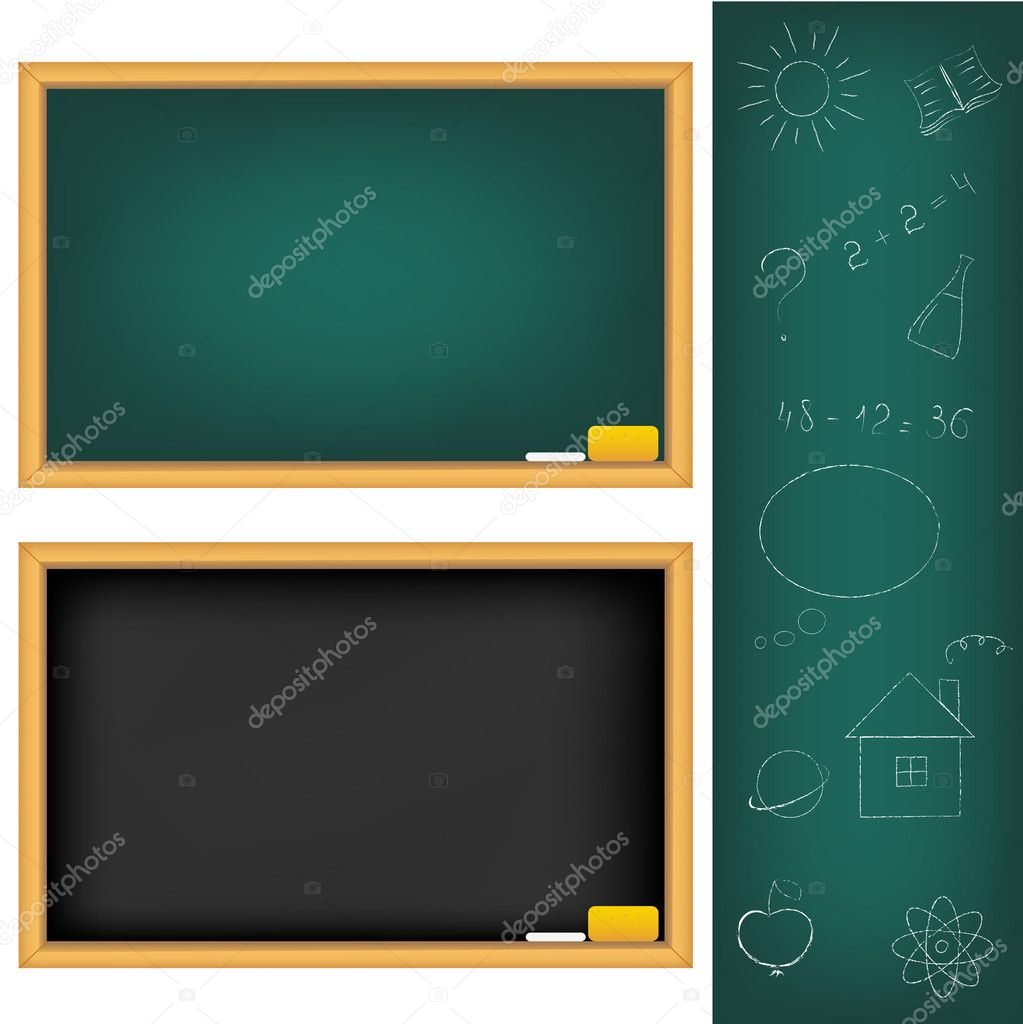 2 School Boards And Drawings Drawn by Chalk, Isolated On White Background, Vector Illustration — Vektorgrafik #4329210