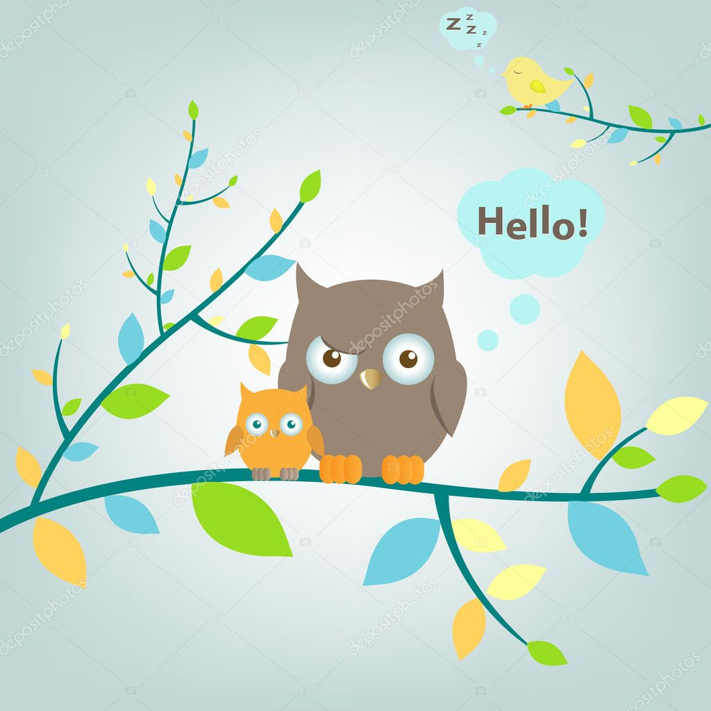 2 Owls Sitting On Tree, Vector Illustration — Stock Vector #4329238