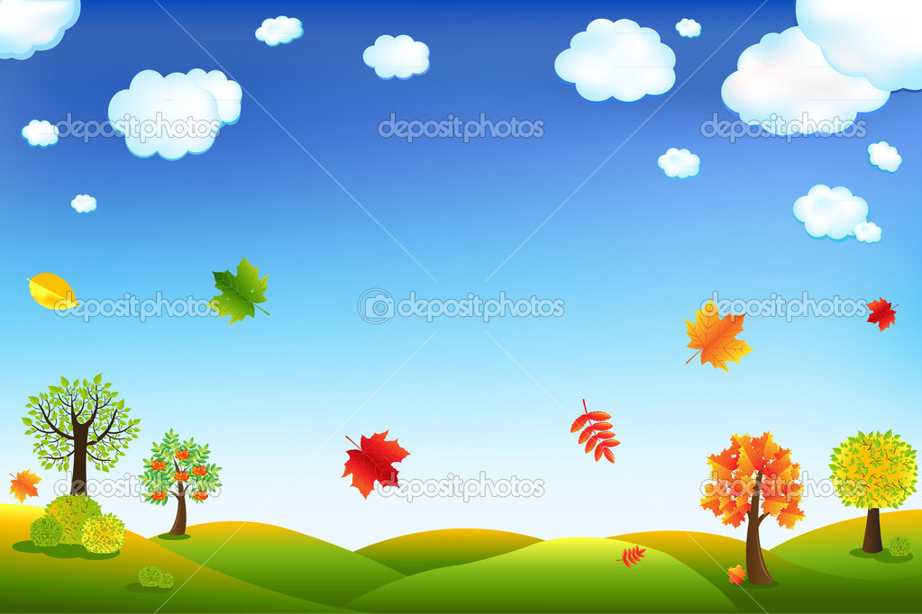Autumn Cartoon Landscape With Trees And Leaves, Vector Illustration — Stock Vector #4329470