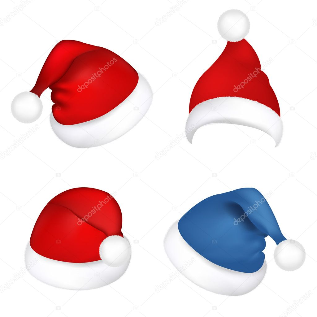 4 Hats Santa Claus, Isolated On White Background, Vector Illustration — Stock Vector #4358381