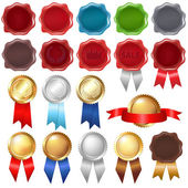 Collection Wax Seal And Award Ribbons — Stock Vector