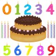 Birthday Cake With Candles Of Different Form — Stock Vector