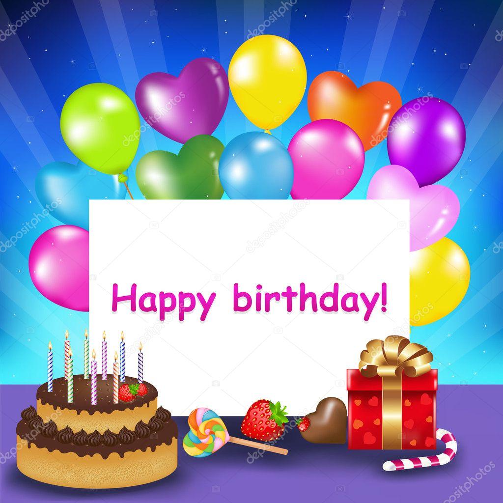 Happy Birthday Cake Candles Balloons