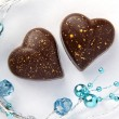 Chocolate Hearts With Blue Beads — Stock Photo