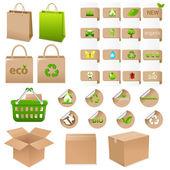 Uppsättning ekologiska behållare — Stockvektor