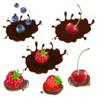 Berry In Chocolate - Stock Vector
